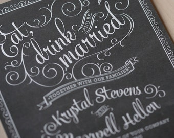 Chalkboard Wedding Invitation Set - rustic chic, rustic invitation, hand drawn cafe poster invitation, SAMPLE