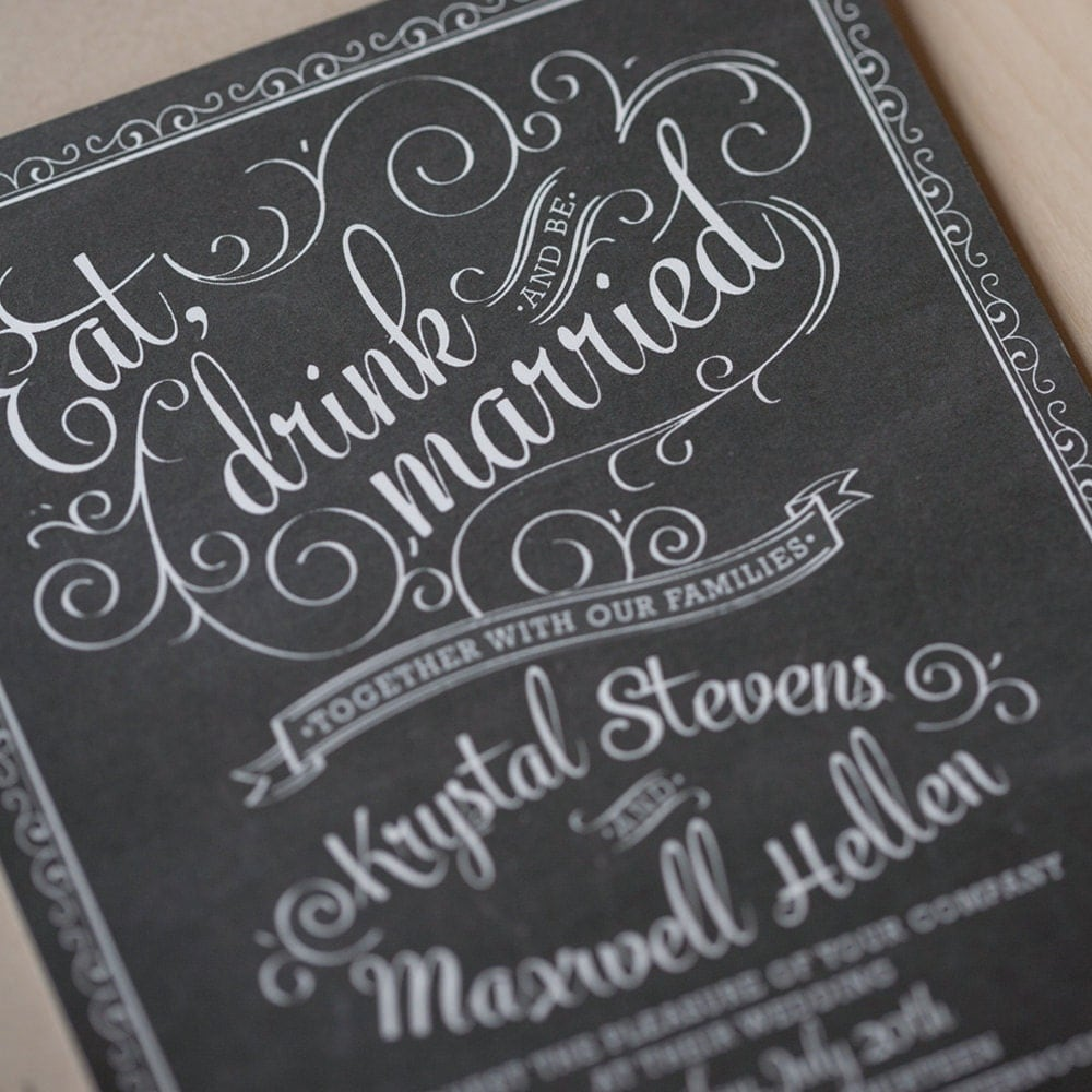 Rustic Wedding Invitation Fonts: Chalkboard Wedding Invitation Set Rustic Chic By