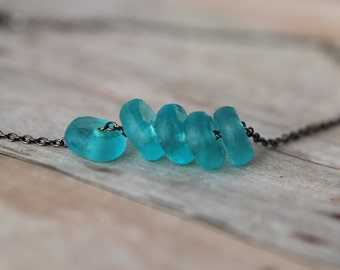 Recycled Glass Aqua Blue Beads Beach Glass Necklace Gunmetal Chain Gift For Her Under 50