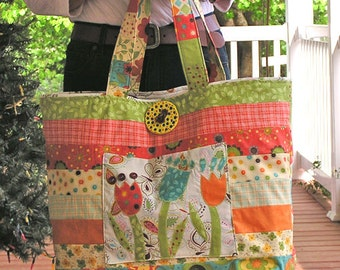Day in the Sunshine Tote - A large jelly roll strip tote in beautiful bright colors