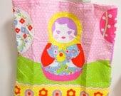 SALE 16 dollars - Big Russian Doll Matryoshka print tote