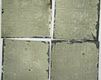 AUTHENTIC Tin Ceiling 6x6 Set of 4 Crafts Art Tiles S 1226-13