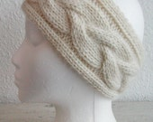 Cabled ear warmer, luxurious pure baby alpaca, cream, ready to ship