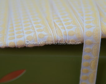 3 yards of Mod Yellow Circles-  Vintage Trim Embroidered Sunny 60s 70s Juvenile New Old Stock