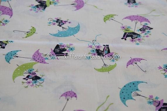 Kentucky Derby Horses- NOS Vintage Fabric Juvenile 36 in wide Daisies Parasols Polka Dot Umbrellas