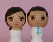 Custom Wedding Cake Toppers Hand Painted on Wooden Kokeshi Dolls