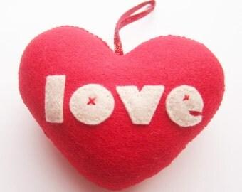 Handmade Red 'love' Heart Decoration