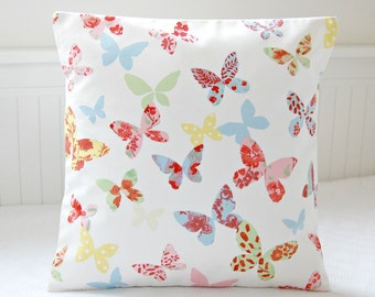 butterflies decorative pillow cover, yellow rose pink blue green flowers cushion cover 16 inch
