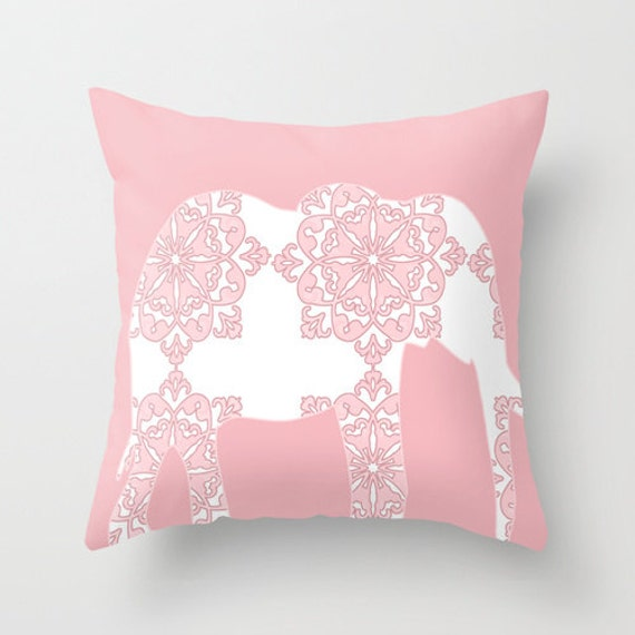 Pink Elephant Throw Pillow : Damask Elephant Throw Pillow 18 x 18 in pink and
