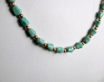 Copper and Imitation Turquoise Necklace 27 inches RKM416 RKMixables