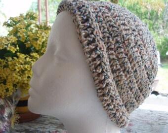 Crochet Multi-colored Acrylic Beanie with Folded Brim