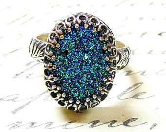 Cassandra Ring - Gothic Sterling Silver Ring with Large Oval Titanium Blue Green Drusy Quartz Druzy