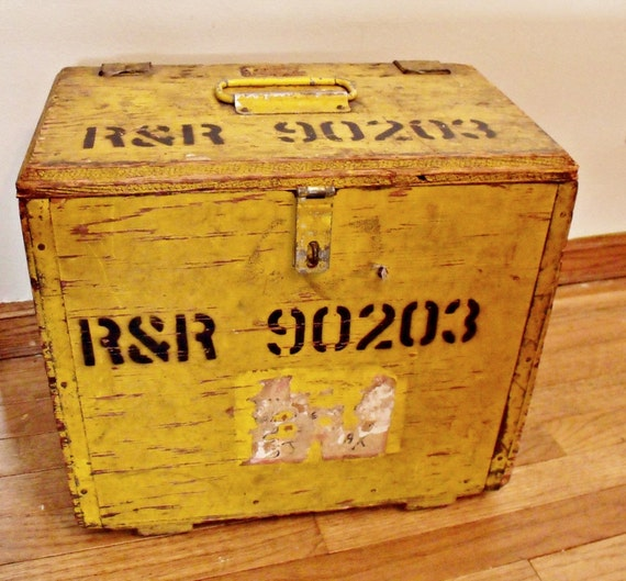 Painted wood chest - Small trunk - Military style - Stencils - Yellow - Industrial military surplus  - Radio - Field Telephone