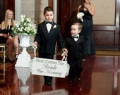 Here Comes The Bride My Mommy or Our Mommy - Wedding Signs - Flower girl Ring Bearer - 24X10