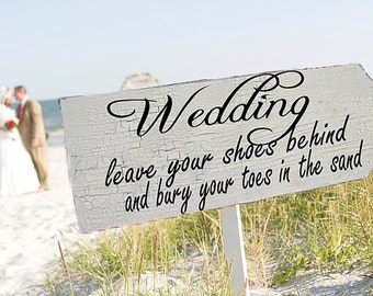 Wedding Signs BEACH WEDDING 24x10 with FREE stake