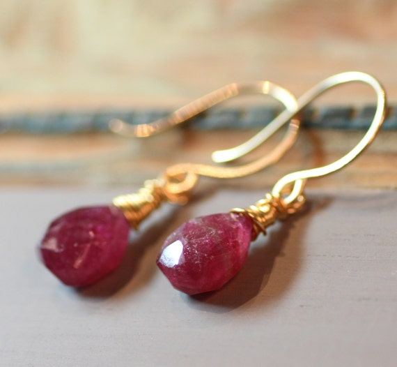 Pink Tourmaline Earrings Gold Wire Wrapped Pink Earrings Burgundy Pink Gemstone Earrings