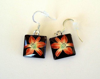 Daylily Earrings Jewelry Ruby Red Spider Daylily Art Glass Square Shaped Drops