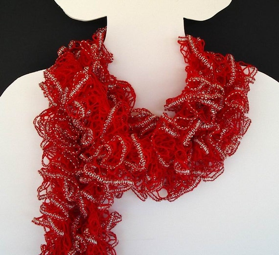 Knit Ruffle Scarf Pattern Starbella : Ruffle Fashion Scarf Knit Red Cardinal Silver by AllKindsofArt