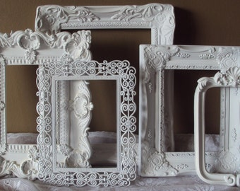 Shabby Chic Decor Picture Frames Vintage Inspired Ornate French Cottage White Wall Gallery Set 5 Frames Wedding Romantic Home Decor Gift