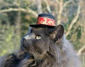 Top Hat for Cats and Dogs - Holidays -  Cupid Cat - Red and Gold Corinthian Leaves