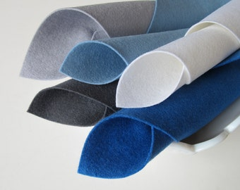 Wool Felt, Steely Blue Color Story, Felt Fabric Set, Wool Felt Squares, Handwork Felt, Waldorf Crafts, Toxin Free, Eco Friendly Felt, DIY