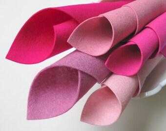 Wool Felt Set, Tickled Pink, Felt Squares, Merino Wool, Baby Pink, Cerise, Deep Pink, Lavender Pink, Rose Pink, DIY Felt Flowers, Baby Girl