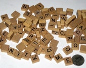 100  Vintage (1990) Wooden Miniature Travel  Scrabble Letter Tiles for Altered Art, Collage, Scrapbooking, etc.