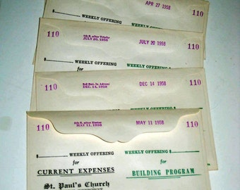 5 Vintage (1950s)  Church Collection Envelopes