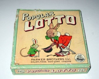 Vintage (1920s) Parker Brothers Popular Lotto Game for Collecting or Crafting