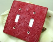 Red Fan Polymer Clay Light Switch Plate Cover