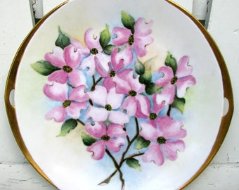 Hand Painted Floral Handled Serving Plate Platter