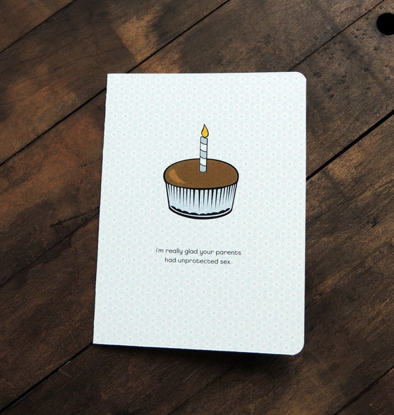 Funny Inappropriate Birthday Card, Cupcake Unprotected sex