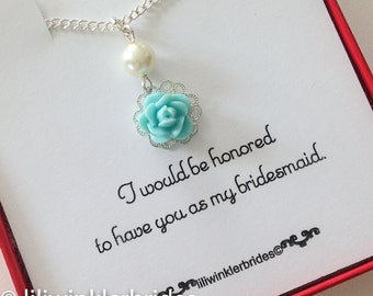 Bridesmaid Gift - Seafoam Blue Flower Necklace - Rose Bridesmaid Necklace - Flowergirl Necklace - Pick your color