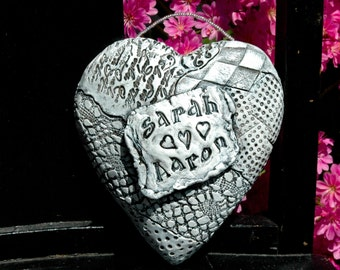 Heart Sculpture - Wedding - Anniversary - White - Wall Hanging - Personalized