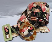 Fabric Belt - Spring Magnolias on black with acrylic buckle
