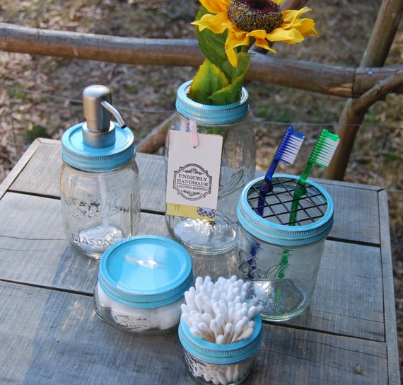 The original 5 pc mason jar bath set sea blue mason jar by for Bathroom decor mason jars