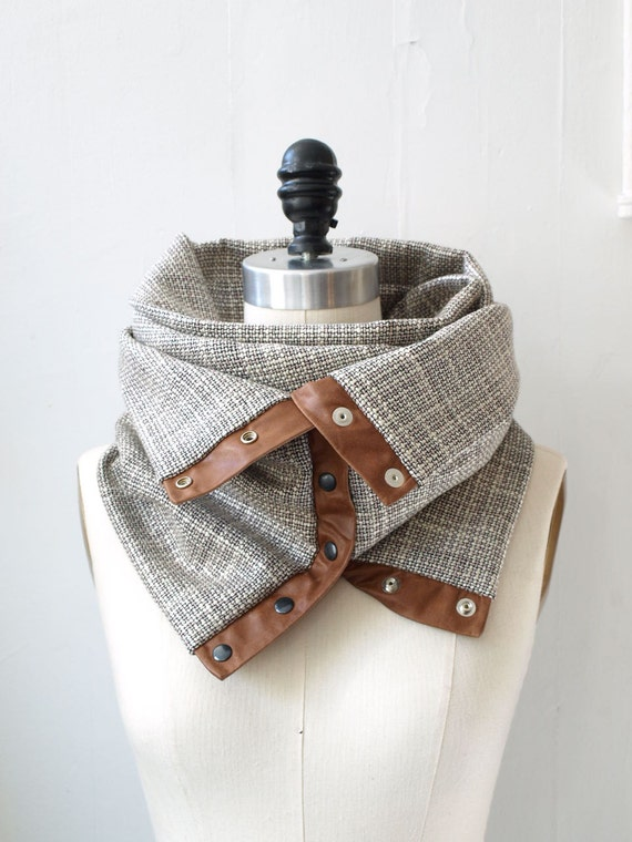 Cream and charcoal  circular infinity scarf