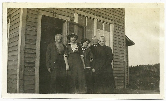 Vintage Photo Old Man With Long Beard And Folks By Door With Horseshoe On Top Photograph