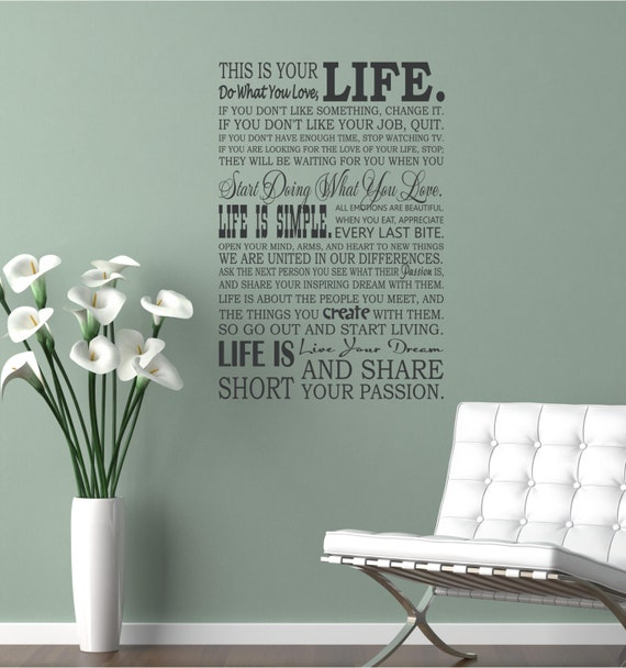 28x42 This is your life Do what you love Lettering Art Quote Willow Creek Signs Custom Words Decal Sticker