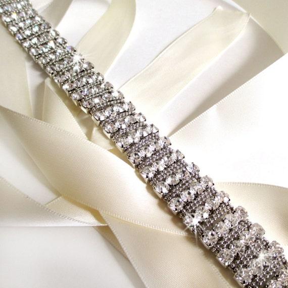 Unique Wedding Dress Sashes Belts: Silver Wedding Dress Sash Custom Satin Ribbon By GetNoticed