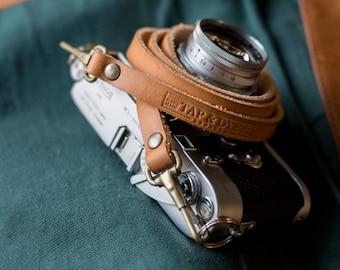 Handmade Leather Camera Strap for - Olympus OMD, Fuji x-pro 1, Fuji X100s, Nikon, Sony NEX, Leica M: Antique Tan color