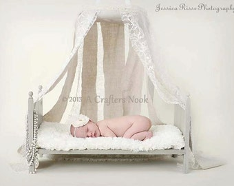 Photography Prop Bed Photo prop bed Newborn Baby Doll Bed Posing Bed and Foam Mattress New Baby New Mother DIY Large Traditional Lace Canopy