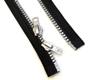 LARGE ZIPPER in SILVER - dual slider, two way double separating parka style, big molded no.10 teeth - various lengths
