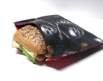 ReUsable Sandwich Bag, Pirates Skulls, Reusable Lunch Kit, Earth Day, School Lunch Bag, Work Lunch Bag, Ready to Ship