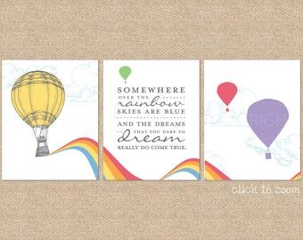 Somewhere over the Rainbow Nursery / Kids Room Giclée Art Prints, 3 Print Set, Custom match colors to your nursery/room // N-G23-3PS AA1