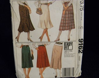 Vintage Uncut McCall's Pattern 9162 Size 12 Easy Fit, Gored and Flared Skirts