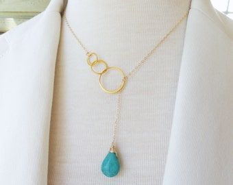 Turquoise drop necklace, Turquoise necklace, Lariat necklace, y necklace, Turquoise jewelry, Teal blue