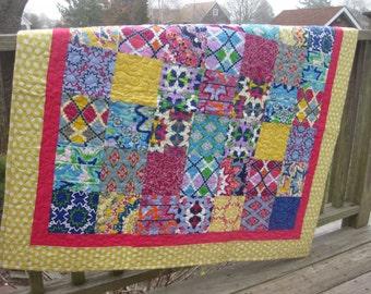 Modern patchwork quilt lap quilt or modern baby quilt