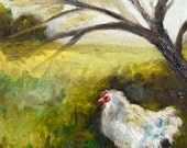"Oil Painting, Original Landscape, Chicken, 8""x10"""