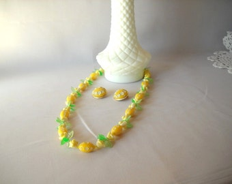 Vintage Necklace Demi Parure Lemon Yellow Necklace Flower Necklace Green Leaves Necklace and Earrings